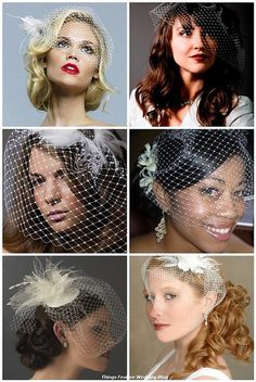 Bridal Hairstyles for Birdcage Veils. I like the one in the lower left corner.