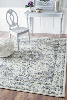 Distressed persian grey rug
