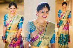 Bride in Multi Colors Wedding Sari