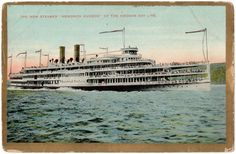 "This is a divided back era postcard with gold borders. It depicts the Hendrick Hudson Steamer which was a very popular steamer in it's day. In 1906 it was called, ""The grandest and swiftest steamer in the world."""