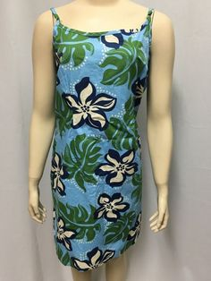 Hilo Hattie Sundress Dress XL Women's Floral Hawaiian Straps Blue Beach Coverup #HiloHattie #Sundress #SummerBeach