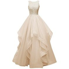 Dresstells Long Prom Dress Asymmetric Bridesmaid Dress Beaded Organza Gown