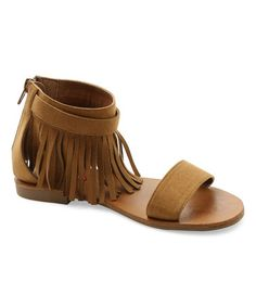 Look what I found on #zulily! Cognac Nicole Fringe-Trim Sandal #zulilyfinds
