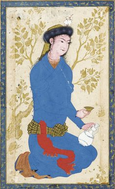 A YOUTH WITH BOTTLE AND CUP, ATTRIBUTABLE TO REZA-I 'ABBASI, WITH CALLIGRAPHY BY SULTAN 'ALI MASHHADI, PERSIA, SAFAVID, CIRCA 1610