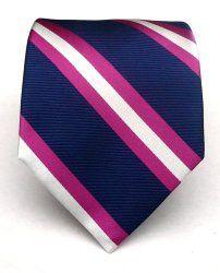 The Tie Bar Woven Silk Fuschia Pink and Navy Power Striped Tie Navy Pink, Navy And White, Purple, Groomsmen Ties, Paisley Tie, Cool Ties, Knit Tie, Pink Ties, Navy Stripes