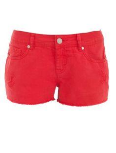 Red Raw Edge Denim Shorts