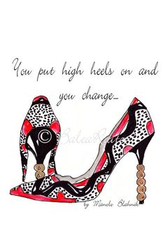 Manolo Blahnik shoe illustration and quote print by BaleaRaitzART, $34.92