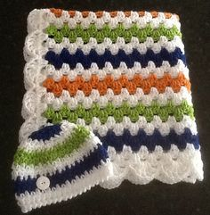 I love these colors. Crochet baby blanket baby boy shower gift by DonnasPinsandNeedles, $49.95