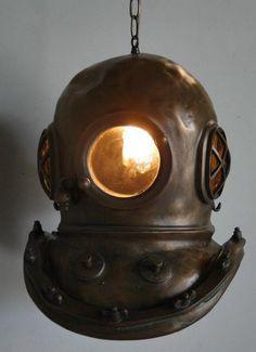 Steampunk Bioshock infinite Bronze MARK V DIVERS HELMET CHANDELIER old sty Light #TheKingsBay #Nautical