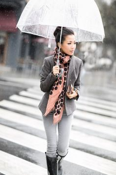 """""""Casual Rainday :: Heritage blazer"""": Love the simple neutrals with the pop of pink Estilo Fashion, Love Fashion, Ideias Fashion, Fashion Outfits, Fashion Scarves, 1950s Fashion, Vintage Fashion, Ways To Wear A Scarf, How To Wear Scarves"""