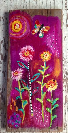 Floral Painting On Rustic Wood Shades of Violet on Etsy, $58.00