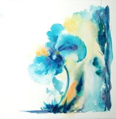 Original Watercolor Painting of Abstract Flowers by CanotStop, $50.00