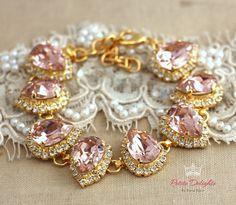 Blush Pink Bracelet, Swarovski Rhinestone bracelet, Bridal Rhinestone Bracelet, Drop shape bracelet- 18k  gold plated  Swarovski Bracelet. by iloniti on Etsy https://www.etsy.com/listing/204120058/blush-pink-bracelet-swarovski-rhinestone