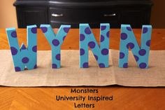 Monsters Inc. inspired name letters.