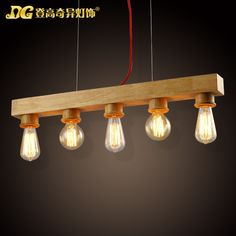 104.65$  Watch now - http://aliwwd.worldwells.pw/go.php?t=32598883583 - Modern Home 5 Head Wooden Dining Room Pendant Light Edison Bulb Coffee Shop Decoration Light Free Shipping 104.65$