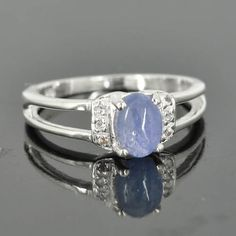 Kyanite ring sterling silver ring cabochon blue one by JubileJewel