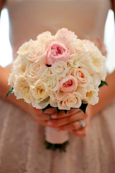 yellow, white, peach and pastel roses wedding bouquet