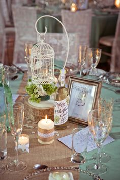 Log Flowers Birdcage Centrepiece Table Number Candles Hessian Decor Rustic Elegant Mint Gold Barn Wedding http://gemmagaskins.co.uk/