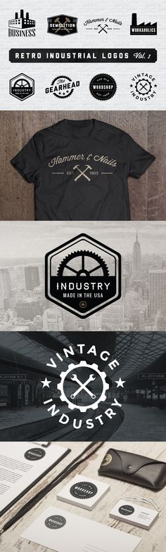 """Retro Industrial Logos"" by Adrian Pelletier."