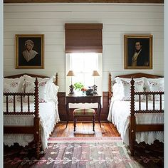 A cute bedroom from a cabin in Madison Georgia. #phoebehowarddecorator