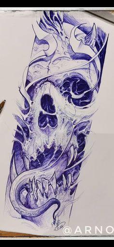 Dope Tattoos, Skull Tattoos, Rose Tattoos For Men, Tattoos For Guys, Monster Concept Art, Skull Artwork, Best Sleeve Tattoos, Street Art Graffiti, Art Tips