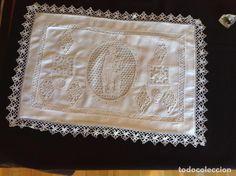 Antigüedades: ANTIGUO ALMOHADÓN BORDADO Y GANCHILLO - Foto 3 - 85457024
