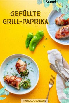 Barbecue Peppers with Filling - AvocadoBanane Grilled Peppers, Roasted Peppers, English Food, English Recipes, Pepper Poppers, Best Bbq Recipes, Avocado, Perfect Grill, Sriracha Chicken