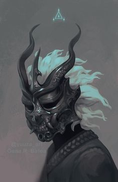 Oni Mask by Yuuza on DeviantArt - You are in the right place about clay mask Here we offer you the most beautiful pictures about the - Ronin Samurai, Samurai Art, Oni Art, Japanese Demon Mask, Oni Demon, Dragon Mask, Mask Drawing, Arte Cyberpunk, Arte Obscura