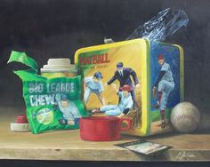 For this still life painting my old lunch box fromgrade school was called in for duty, thermos and all. It's been sitting around all these years waiting for something to do besides hold old baseb...