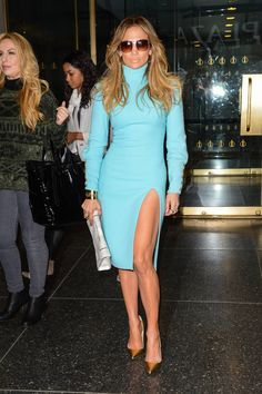 Who: Jennifer Lopez What: '70s Turtleneck Dress Why: Jennifer Lopez has jetset style down in a turquoise Emanuel Ungaro turtleneck dress with sexy slit—worn with Phillips House ring and retro sunnies. We like the idea done up in neutrals as well. Get the look: Kate Spade dress, $428 , zappos.com.   - HarpersBAZAAR.com