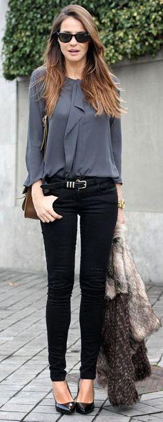 Latest fashion trends: Women's fashion | Ruffling grey blouse, skinnies, heels and fur coat