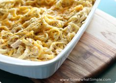 Chicken Fettuccine Casserole is an easy family dinner that tastes delicious!