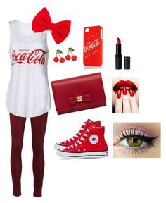 """""""Coca cola"""" by superfabulouzz ❤ liked on Polyvore featuring Paige Denim, Converse, Mulberry, Kate Marie, Nails Inc. and Lime Crime"""
