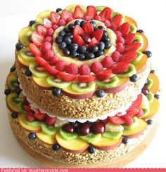 I want to eat this cake forever.  It has all the fruit I love and none of the fruit that I don't. <3