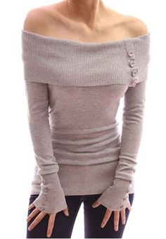 Sexy Off-The-Shoulder Solid Color Buttoned Bodycon Sweater For Women