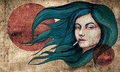 blue woman 1 by carographic Art Print
