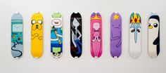 Adventure Time skateboard decks. BMO, Jake, Finn, Marceline, Princess Bubblegum (pb), Lumpy Space Princess (lsp), Ice King, Gunther (Gunter?)