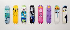 Adventure Time skateboard decks. BMO, Jake, Finn, Marceline, Princess Bubblegum (pb), Lumpy Space Princess (lsp), Ice King, Gunther (Gunter?)