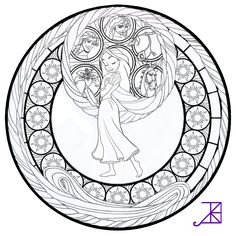 Disney Tangled : Rapunzel Stained Glass -line art- by… Disney Princess Coloring Pages, Disney Princess Colors, Disney Colors, Cool Coloring Pages, Adult Coloring Pages, Coloring Sheets, Coloring Books, Mandalas Painting, Mandalas Drawing