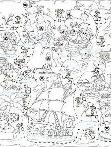 Обои-раскраски Пиратская карта 60x100 см
