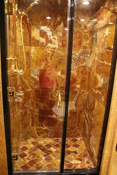 This Honey Onyx shower rivals any found at even the most lavish 5-star hotel.