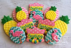 Pineapple Flamingo Birthday Cookies - 1 Dozen by SugaredHeartsBakery on Etsy https://www.etsy.com/listing/262127100/pineapple-flamingo-birthday-cookies-1