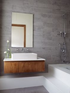 love the tile and the wall-mounted cabinet