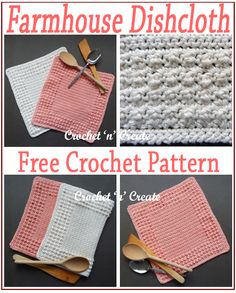 Farmhouse Crochet Dishcloth - Pick colours that match your taste and style, are you ready for a simple crochet dishcloth pattern that fits in with . Crochet Kitchen, Crochet Home, Crochet Gifts, Easy Crochet, Free Crochet, Knit Crochet, Dishcloth Crochet, Crochet Dishcloths Free Patterns, Doilies Crochet