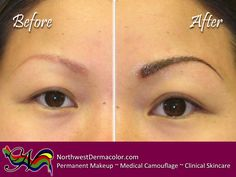 """A """"Before and After"""" look at our Feather-Stroke Eyebrow technique."""