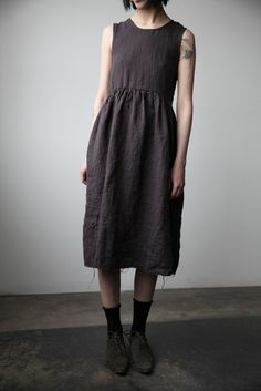 674dab505c55 Irina Washed Linen Dress - Charcoal