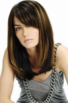 Love this Long bob with side swept bangs  with a few blonde caramel highlights.
