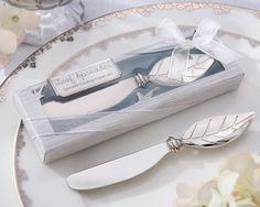 Wedding Favor: Chrome Leaf Spreader Favor. Elegant, Yet Practical Wedding Favor Choice! www.ceceliasbestwishes.com