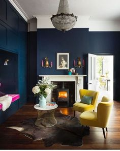 Perfect Navy Blue Living Room with Best 25 Navy Living Rooms Ideas On Home Decor Navy Blue Living Navy Living Rooms, New Living Room, My New Room, Blue Living Room Walls, Small Living, Blue Feature Wall Living Room, Usa Living, Living Etc, Cozy Living