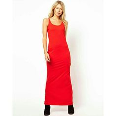 ASOS Red Maxi Dress Gorgeous, stylish & comfortable. Has split in the back. Cotton, stretchy material. Only worn once for a photo shoot. True to size, can be worn alone or paired with a biker jacket and boots to add edge if that's your thing ;) ASOS Dresses Maxi